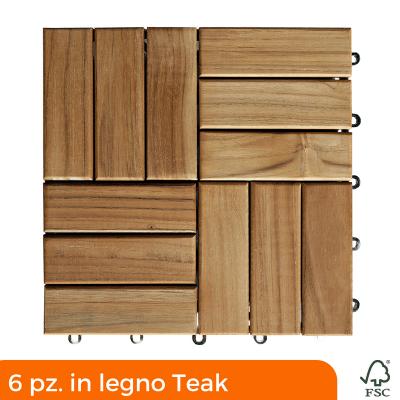 Teak decking tiles 300x300 mm