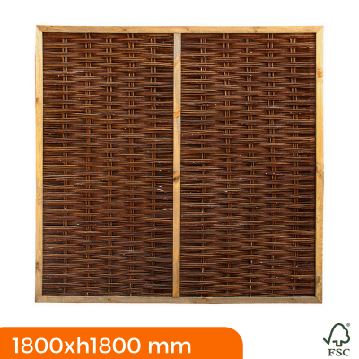 Framed willow fence panels 1800x1800 mm