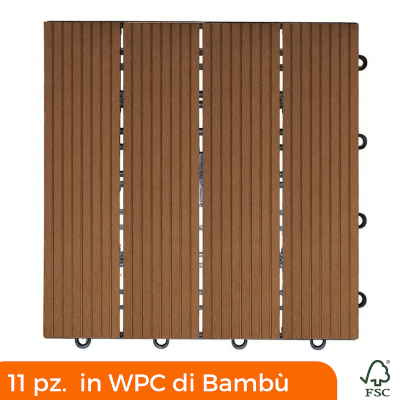 Mattonella composita Bambù e Resina 300x300 mm