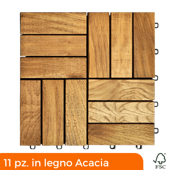 Robinia decking tiles 300x300 mm